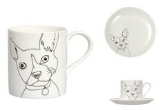 How fab are these Dog Mugs by London-based ceramic designer Nadia Sparham. LOVE them.  Pictured are the Nadia Sparham French Bulldog Mug, Dinner Plate & Tea Cup & Saucer.