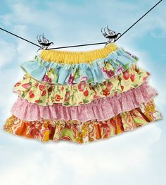 40 Percent Off  PDF Sewing Pattern - less Tutorial 4-row ruffles Ruffled Up Skirt sizes 6m through 16 Girls Instant