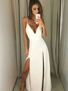 White prom dress - V Neck White Maxi Dress with Slits Simple Prom Dress – White prom dress Chiffon Evening Dresses, Cheap Evening Dresses, Backless Prom Dresses, White Maxi Dresses, Formal Dresses, Formal Prom, Ball Dresses, Long Dresses, Evening Gowns