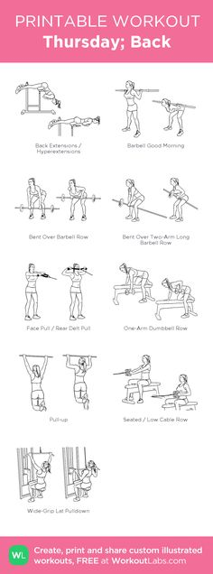 Back/ maandag : my visual workout created at WorkoutLabs. Gym Workouts, At Home Workouts, Forma Fitness, Bodybuilding, Fitness Motivation, Printable Workouts, Back And Biceps, Back Exercises, Woman Workout