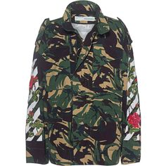 OFF-WHITE C/O VIRGIL ABLOH Diagonal Roses Camouflage // Patterned... ($1,490) ❤ liked on Polyvore featuring outerwear, jackets, pocket jacket, white jacket, camo print jacket, white zip jacket and oversized jacket