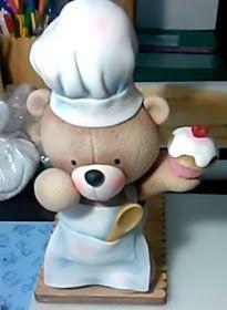 Biscuit Passo a Passo: Porta papel toalha URSO COZINHEIRO em biscuit
