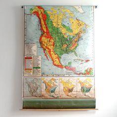 Pull-down school map of North America