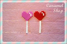 Heart melty-bead/fusion bead lollipop - cute for valentines! Hama Beads Minecraft, Diy Perler Beads, Perler Bead Art, Pearler Beads, Fuse Beads, Easy Perler Bead Patterns, Melty Bead Patterns, Perler Bead Templates, Beading Patterns