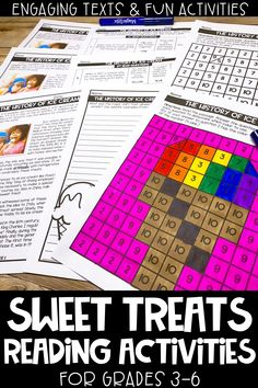 These sweet treats reading activities are perfect for distance learning, e-learning and/or homeschool!  This reading comprehension resource is no prep, print and go and helps upper elementary students practice their close reading skills. Includes 3 Engaging and high interest passages about sweets, mystery picture, graphic organizer, writing prompts