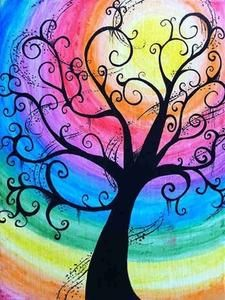 Creepy Swirly Rainbow Tree - Water Color Canvas by BubbleFab,Color Tree NEW Diamond Painting Kit -Diamond Paintings, Diamond Paintings StoreDiamond Painting Kit Full Drill, C-TOP DIY Rhinestone Crystal Embroidery Pictures Cross Stitch for Home Room D Rainbow Art, Art Painting, Tree Art, Tree Painting, Painting Inspiration, Whimsical Art, Art, Canvas Art, Abstract