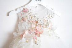 White Flower Girl birthday girl couture dress handmade | Etsy Little Girl Dresses, Flower Girl Dresses, Blessing Dress, Dress Anak, Baby Skirt, Kids Gown, Garden Dress, Baby Couture, Baby Gown