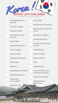 Seoul Korea Travel, Asia Travel, Travel Checklist, Travel List, Bucket List Quotes, Korean Drama List, Korean Words Learning, List Challenges, Vie Motivation