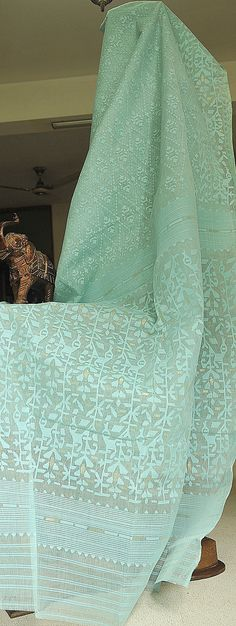 Pale Turquoise Jamdani Saree from MIDRAAR