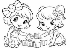 baby Strawberry Shortcake and baby Cherry jam playing blocks Coloring Pages For Girls, Disney Coloring Pages, Coloring Book Pages, Coloring For Kids, Coloring Sheets, Bijoux Harry Potter, Strawberry Shortcake Coloring Pages, Strawberry Baby, Hand Embroidery Designs