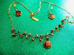 HOLLY YASHI VINTAGE HANDCRAFTED CRYSTAL NIOBIUM  GOLD FILLED DEMI-PARURE  #HollyYashi
