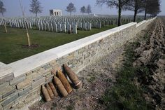 Unexploded shells are lined up along a wall awaiting removal by bomb-disposal experts after a French farmer found them while plowing his fields near the Courcelette British cemetery, the scene of a WWI battlefield in the Somme, on March Ww1 Pictures, Ww1 History, D Day Normandy, Armistice Day, Flanders Field, One Hundred Years, French Army, Lest We Forget, Wipe Out