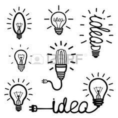 Hand drawn light bulb icons photo