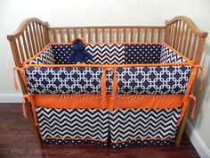Baby Bedding Crib Set Kyle - Navy and Orange Crib Bedding : Just Baby Designs, Custom Baby Bedding Custom Crib Bedding Custom Nursery Bedding Chevron Baby Bedding, Custom Baby Bedding, Baby Boy Bedding, Baby Bedroom, Baby Boy Rooms, Baby Boy Nurseries, Crib Sets, Crib Bedding Sets