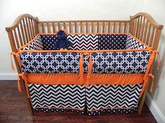 Custom Baby Bedding Set Navy Chevron w/ Orange by BabyBeddingbyJBD, $277.00