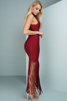 Amethyst Fringe Maxi Bandage Dress - Red $112.99