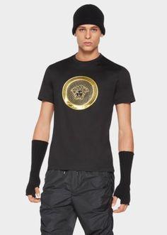 f4661126ba14 Versace Goldfarbenes Medusa Jersey-T-Shirt für Herren