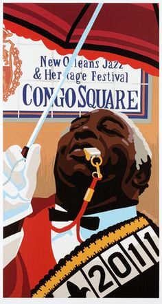 """Fats"" Houston 2011 New Orleans Jazz Fest poster"