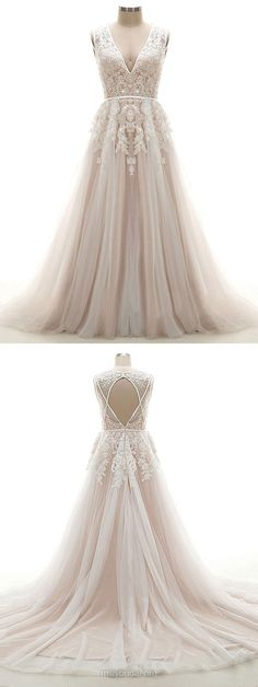 A-line Wedding Dresses V-neck, Lace Bridal Gowns Open Back, 2018 Wedding Dress Tulle Modest