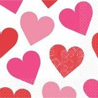 rosa rote Herz Servietten