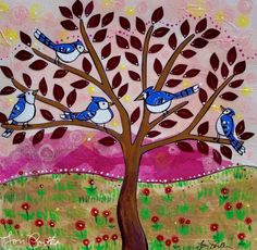 """The original title for this painting was going to be """"Pop-Pop's here,"""" inspired by my dear friend Lisa. While attending her Pop-Pop's funeral, she prayed, asking him to send her a blue bird as confirmation that he was still with her. When she walked out of the funeral home she saw a tree filled with bluebirds."""