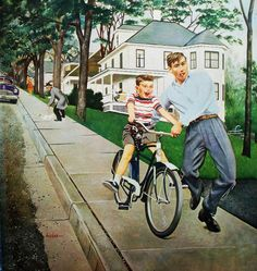 Learning to Ride, art by George Hughes.  Detail from Saturday Evening Post cover June 12, 1954.