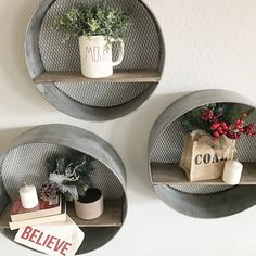 Galvanized metal round shelves. Coal for Christmas. Merry Christmas mug. Rae Dunn clay.
