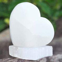 Crafted Selenite Heart Lamp with Selenite base. Includes an Australian Standard cord and bulb. Selenite Lamp, Himalayan Salt, Image Shows, Bulb, Place Card Holders, Shapes, Heart, Crafts, Manualidades