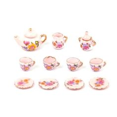 1:12 scale Pink Rose pattern tea set