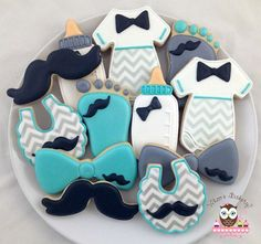 Mustache boy baby shower cookies