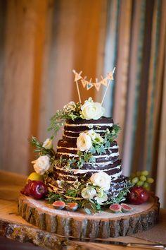naked chocolate wedding cake / Katherine Ashdown Photography