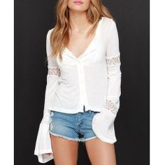 Elegant Scoop Neck Flare Sleeve Lace Splicing Blouse For Women