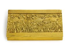 "Line Vautrin ""LA TRANSHUMANCE"" OR ""LE MONDE A L'ENVERS"" COMPACT impressed LINE VAUTRIN gilt bronze and mirrored glass 1/2 x 2 1/8 x 3 5/8 in. (1.27 x 5.4 x 9.2 cm) circa 1947"