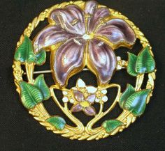 Art Nouveau Enameled Lily Brooch