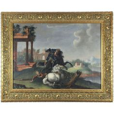 Duels on Horseback Against a Landscape, 18th century, oil on canvas