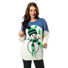 Kersttrui met sneeuwpop voor volwassenen. Kersttrui met print van een sneeuwpop…