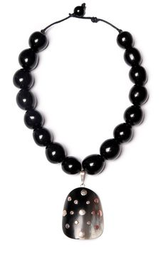 Elbeto black horn necklace with sterling silver inlay. 100% hand carved & buffed