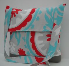 Messenger Bag / Crossbody Bag in Aqua and Red Medallion. $33.00, via Etsy.