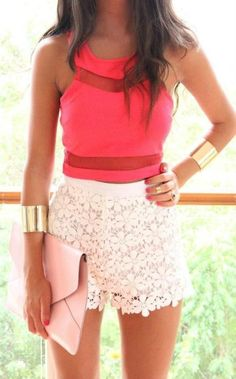 Too cute lace skirt coral blouse Cute Dress! Clothes Casual Outift for • teens • movies • girls • women •. summer • fall • spring • winter • outfit ideas • dates • school • parties mint cute sexy ethnic skirt