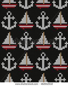 Knitted marine seamless pattern