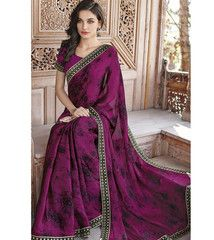 Magenta Color Wrinkle Chiffon Casual Party Sarees : Shalini Collection YF-33152