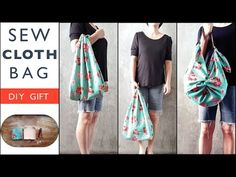 DIY GIFT : Sew Cloth Bag with Leather Strap, Furoshiki Style ! - YouTube