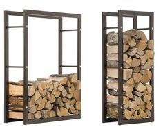 Firewood Rack KERI Black Log Shelf Basket Stand Holder Metal Wood Fire Storage