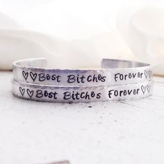 Best bitches best friends BFF gift quote hand stamped bracelet bangle cuff maid of honor custom mother daughter set best bitches forever 3 2 by faeriekissageStudio on Etsy
