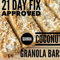Snack Hack - 21 Day Fix Approved  Quinoa Coconut Granola Bars  Makes 15 servings:  1 cup uncooked quinoa 1 cup oats 1/2 cups coconut 1 cup combination of nuts and dried fruit (I used just pecans in the pictures above) 1/4 tsp salt 1/2 cup peanut butter 1/2 cup honey 1 TBL  coconut oil  Instructions in the Comments Below  21 Day Fix per Serving:  1/4 yellow  1 orange  3 tsp