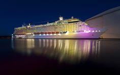 mar, luzes, navio, noite