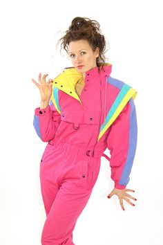 Pink overall, vintage snowsuit, pink snowsuit, women ski suit, one piece, M, 38, retro snowsuit. Vivid and cute 80s ski suit, in cool rainbow