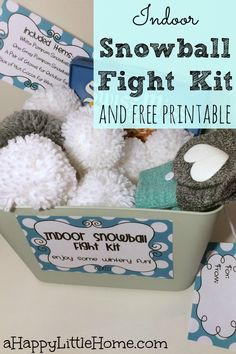Looking for an awesome DIY project for family fun? This post shows how to make an indoor snowball fight kit and includes free printable tags. An indoor snowball fight kit would be an incredibly fun gift for kids, and the perfect idea for family fun night!  I can't wait to make one!