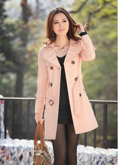 Trendy Jackets and Coats 2014 Trench coat Women girl Winter Cotton outerwear Jackets coat Slim lady long White khaki pink black Pink Trench Coat, Trench Coats, Pea Coat, Mode Mantel, Winter Coats Women, Coats For Women, Jackets For Women, Jackets, Fashion Clothes