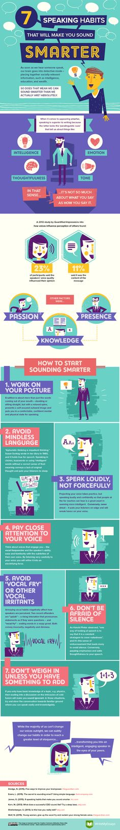 7 Speaking Habits That Will Make You Sound Smarter #infographic #Speaking…